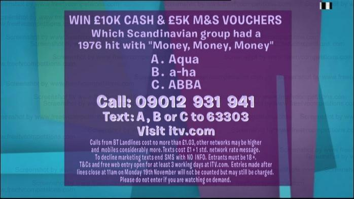 Loose Women free entry competition Nov 12th to 19th 2012
