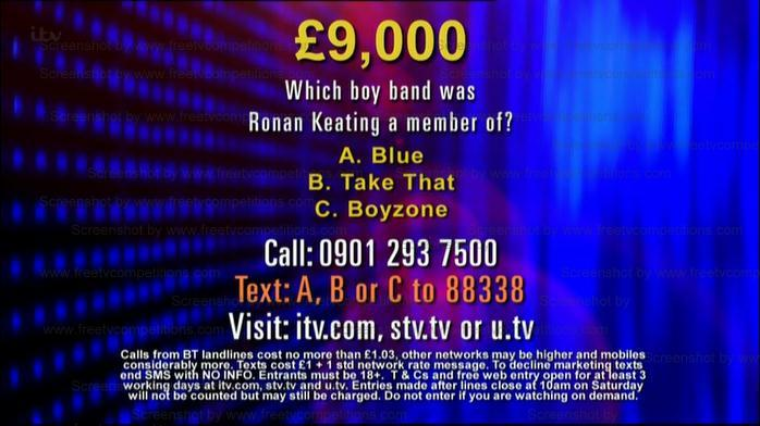 The Chase Free Competition entry question ITV January 14th 2013