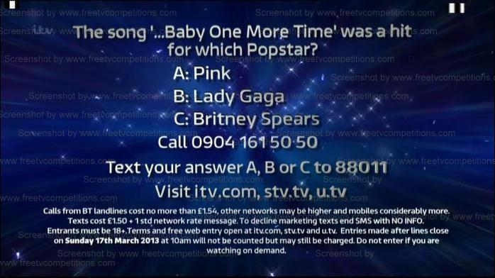 Dancing on Ice Competition question 10th February 2013