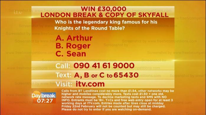 Lorraine competition question, ITV.com February 18th to 23rd 2013