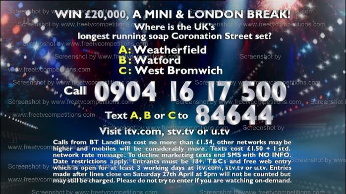 BGT free entry website ITV competition valid to 2nd may 2013