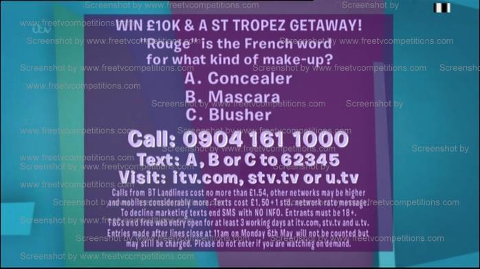 Loose women competition, ITV free website entry. Ends May 13th 2013