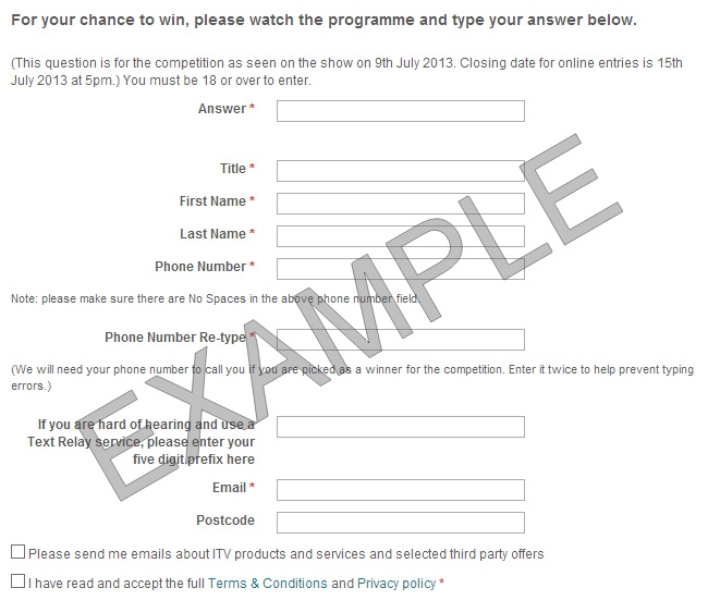 Dickinsons Deal competition question and answer form itv.com