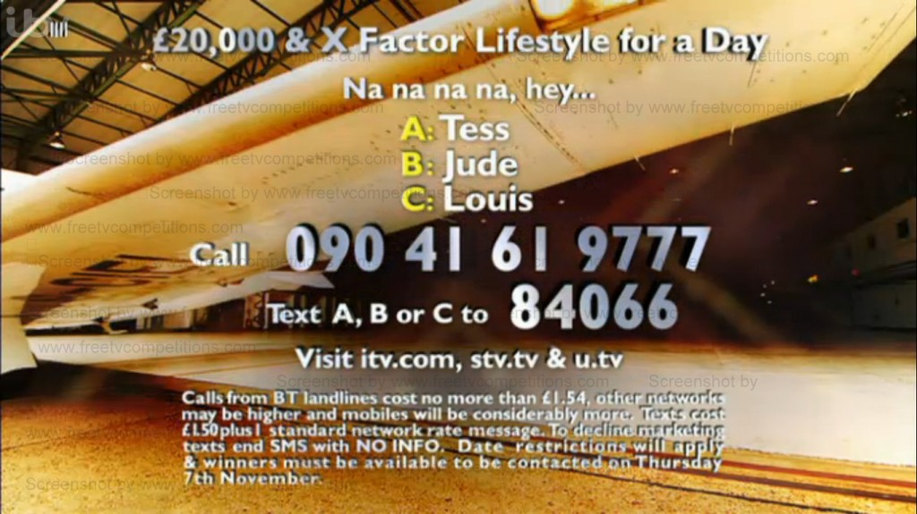 X Factor competition question - valid to November 7 2013