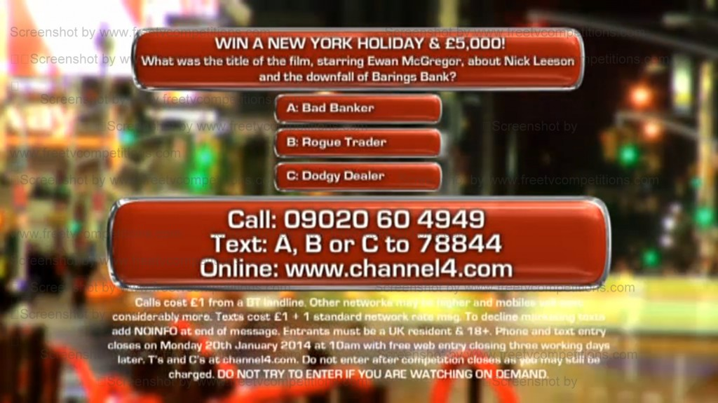 Deal or No Deal competition question. Win £5k & NY trip