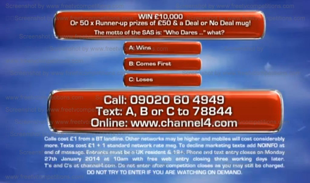 Deal or No Deal competition question - Channel 4 screen shot.