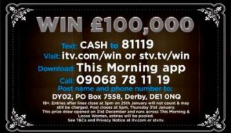 Loose Women prize draw £100,000 ITV
