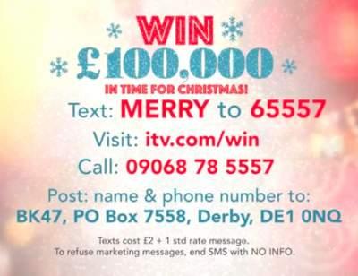 Lorraine Christmas Prize £100,000 2019 ITV
